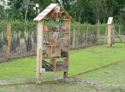Insect hotel in the Jardin des insectes (insect garden)